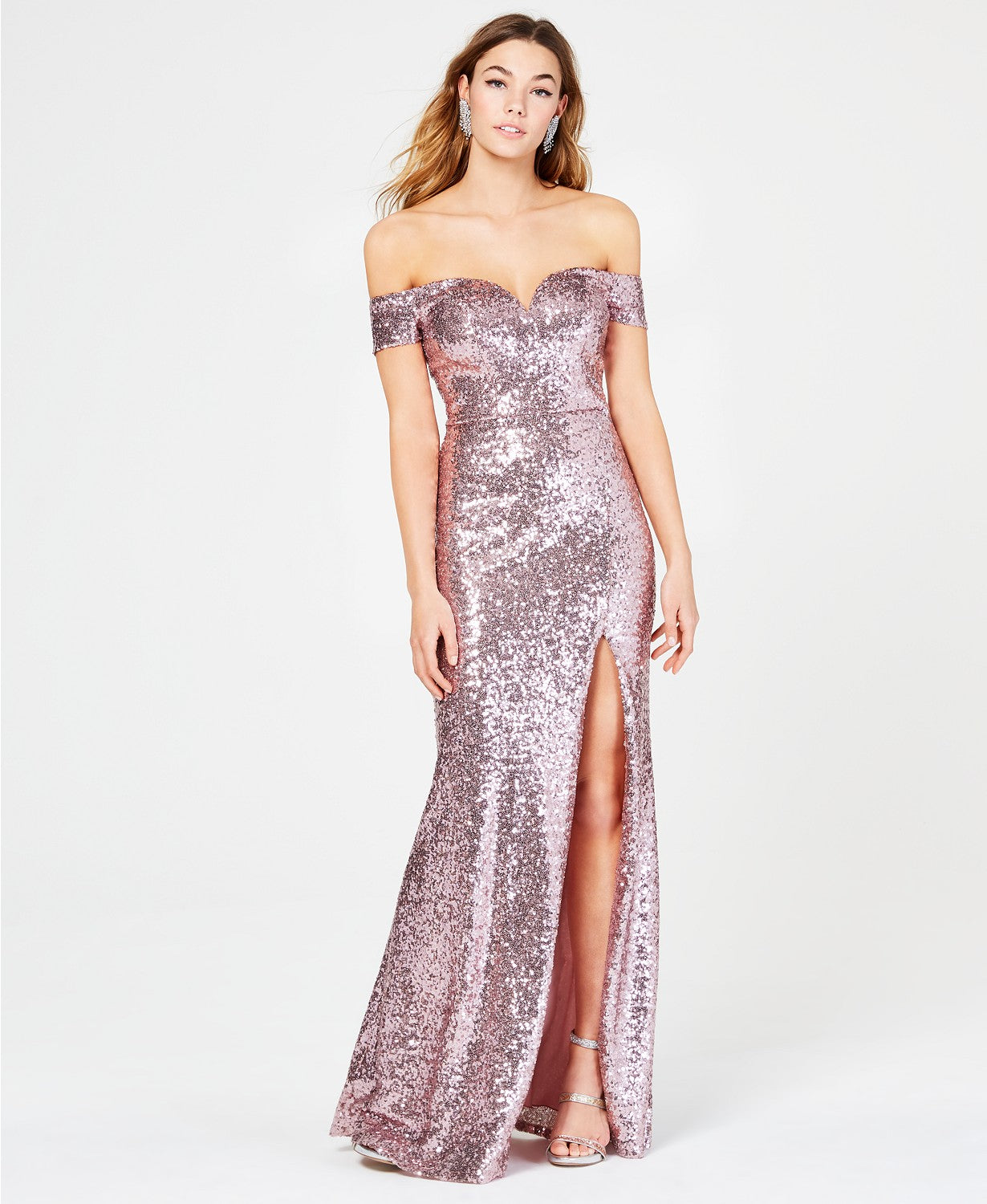B Darlin Off-The-Shoulder Sequined Gown (SKU62)