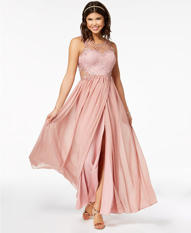 City Studios Embellished Illusion Tulip Gown (SKU78)