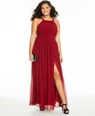 City Studios Trendy Plus Size Ruched Chiffon Slit Gown (SKU81)