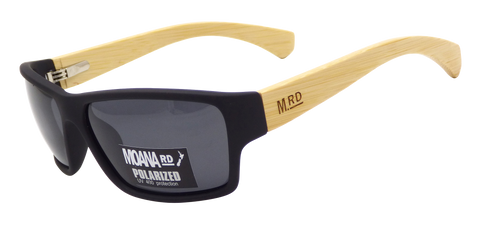 Moana Rd sunglasses - Tradies Black Frame with Bamboo Arms #3751