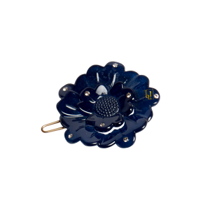 Image of Small flower clip Swarovski Navy from Bon Dep Icons
