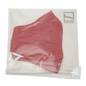 Image of Facemask mw Belgian linen Rasberry from Bon Dep Essentials