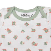 LI'L BIRDIE'S TEA PARTY:  PRINTED UNISEX ORGANIC BABY BODYSUIT