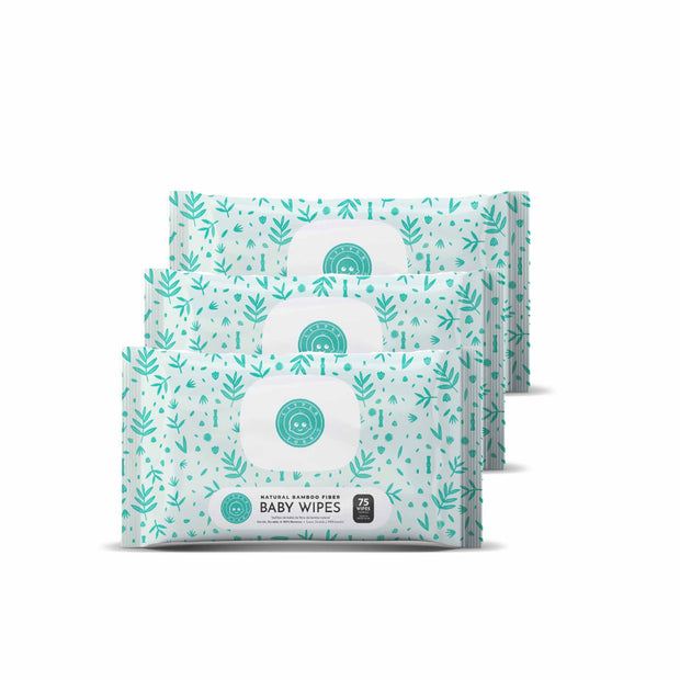 LITTLE TOES NATURAL BAMBOO FIBER BABY WIPES - 3 PACKS OF 75 WIPES