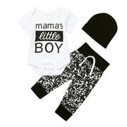 BABY BOY 3PCs CLOTHES ROMPER BODYSUIT PANTS HAT OUTFITS SET