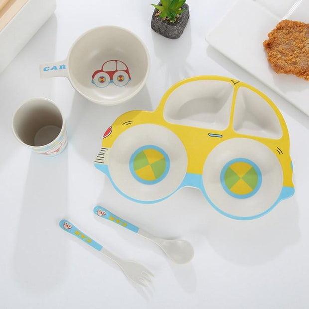 BABY CAR BOWL CUTLERY SET CHILDREN DINNERWARE SET