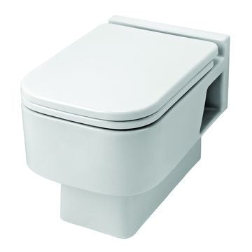 VAAL CHARISMA WALL HUNG PAN WITH THERMOSET SOFT CLOSE SEAT WHITE 505X340MM