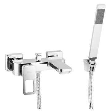ISCA BORDO SQUARE LOOP HANDLE BATH MIXER WALL TYPE WITH HANDSHOWER