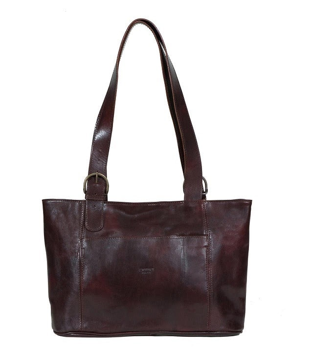 Wide Italian Leather Shopping Bag