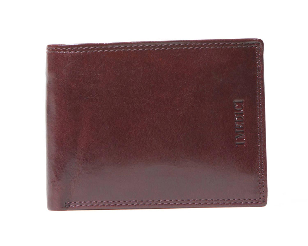 I Medici Bifold Mens Wallet with Coin Pocket, ID Window in Brown