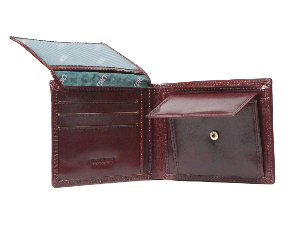 Inside of I Medici Bifold Mens Wallet with Coin Pocket, ID Window