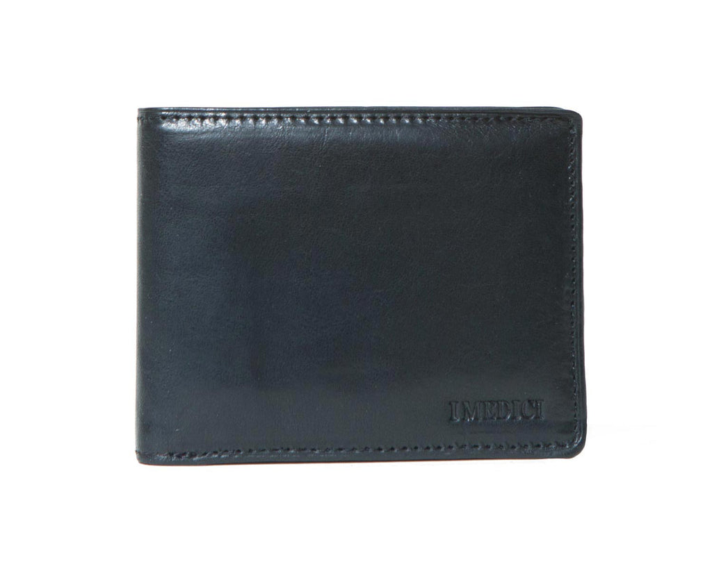 I Medici Bifold Wallet for Men, Card Case with ID Window in Black