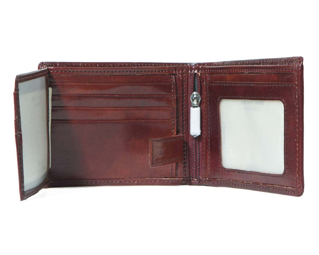 Inside of I Medici Bifold Wallet for Men, Card Case with ID Window