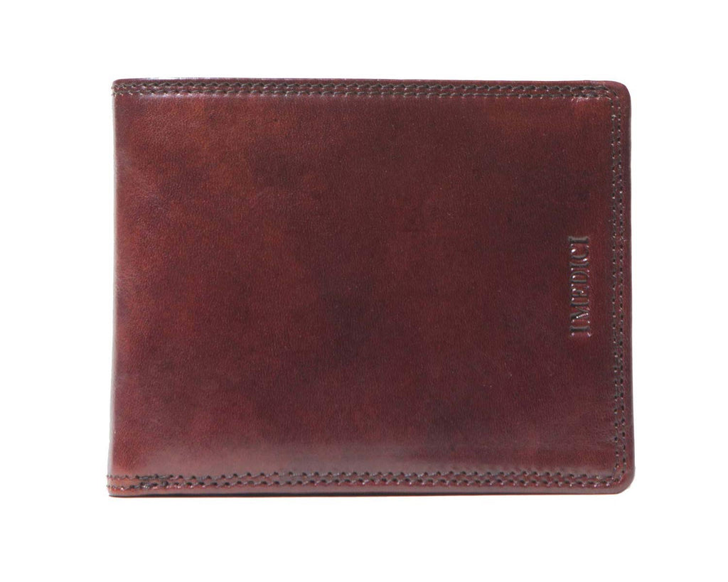 I Medici Bifold Wallet for Men with ID Window in Brown