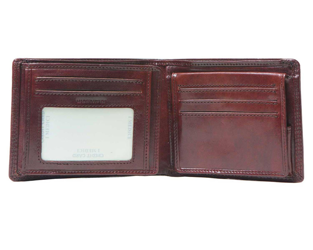I Medici Bifold Wallet for Men with ID Window, Opened
