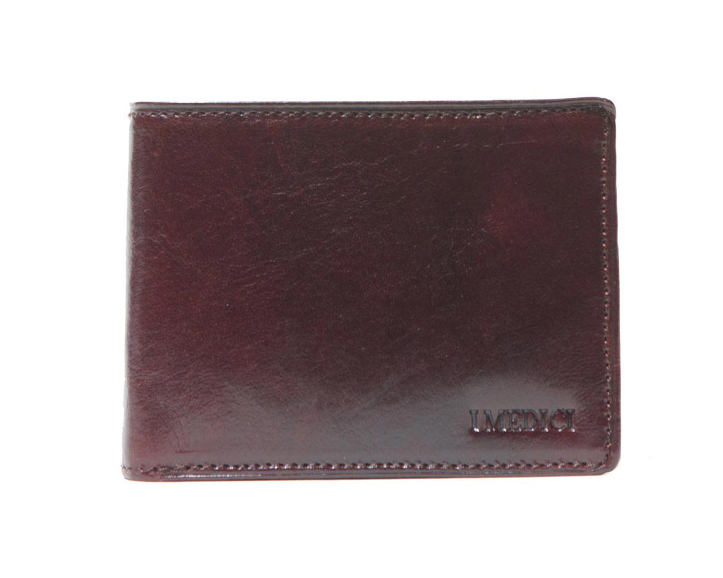 I Medici Bifold Mens Wallet with ID Window and Credit Card Flap in Brown