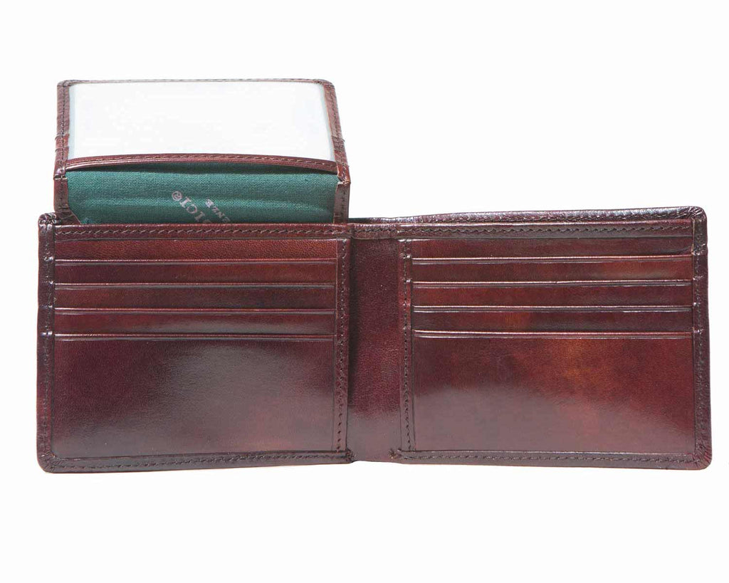 Inside of I Medici Bifold Mens Wallet with ID Window and Credit Card Flap