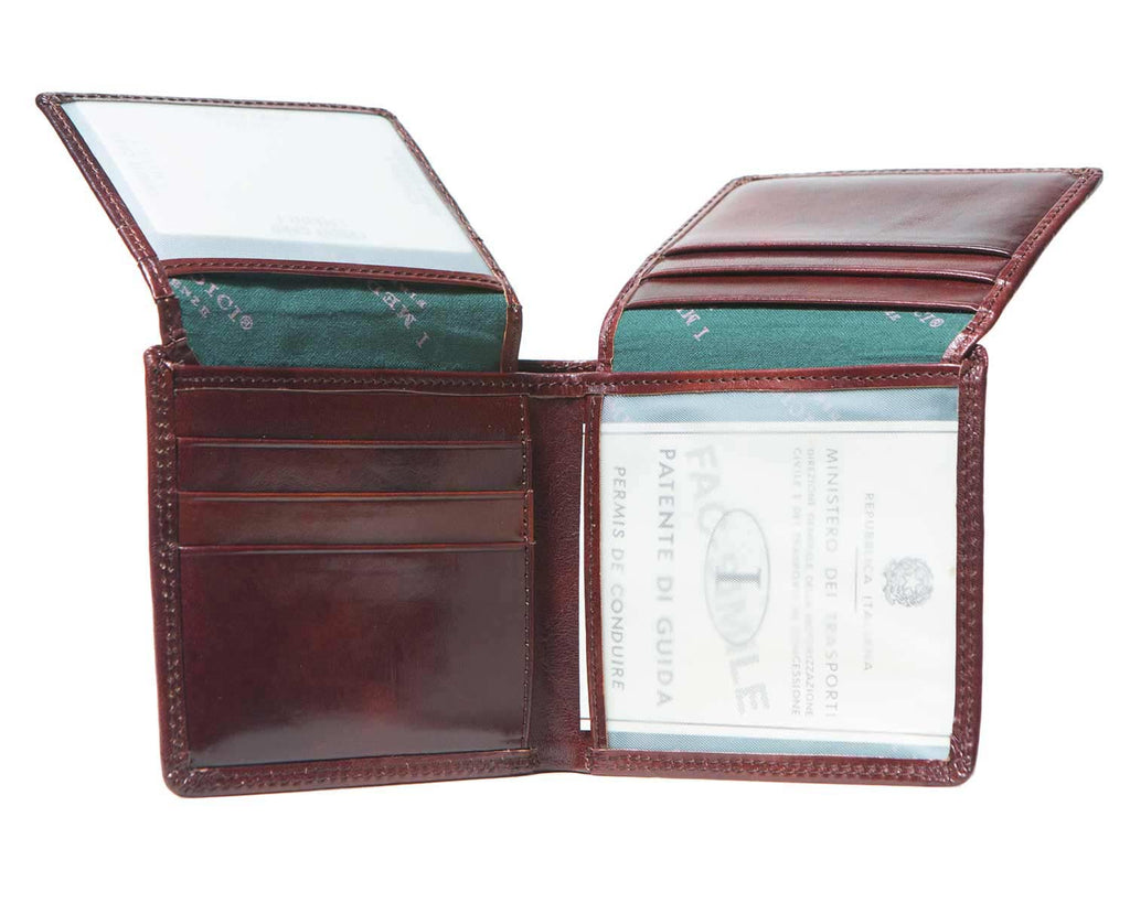 Inside of I Medici Bifold Credit Card Wallet for Men, ID Window