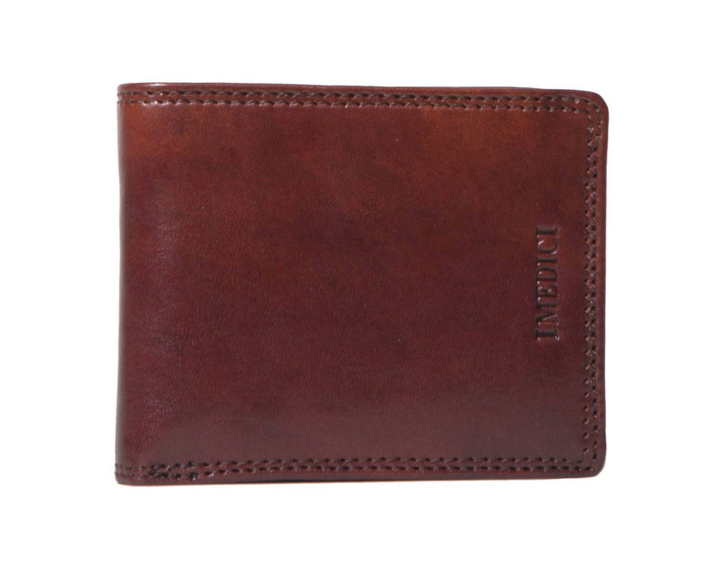 I Medici Bifold Mens Wallet With Card Pockets and ID Window in Brown