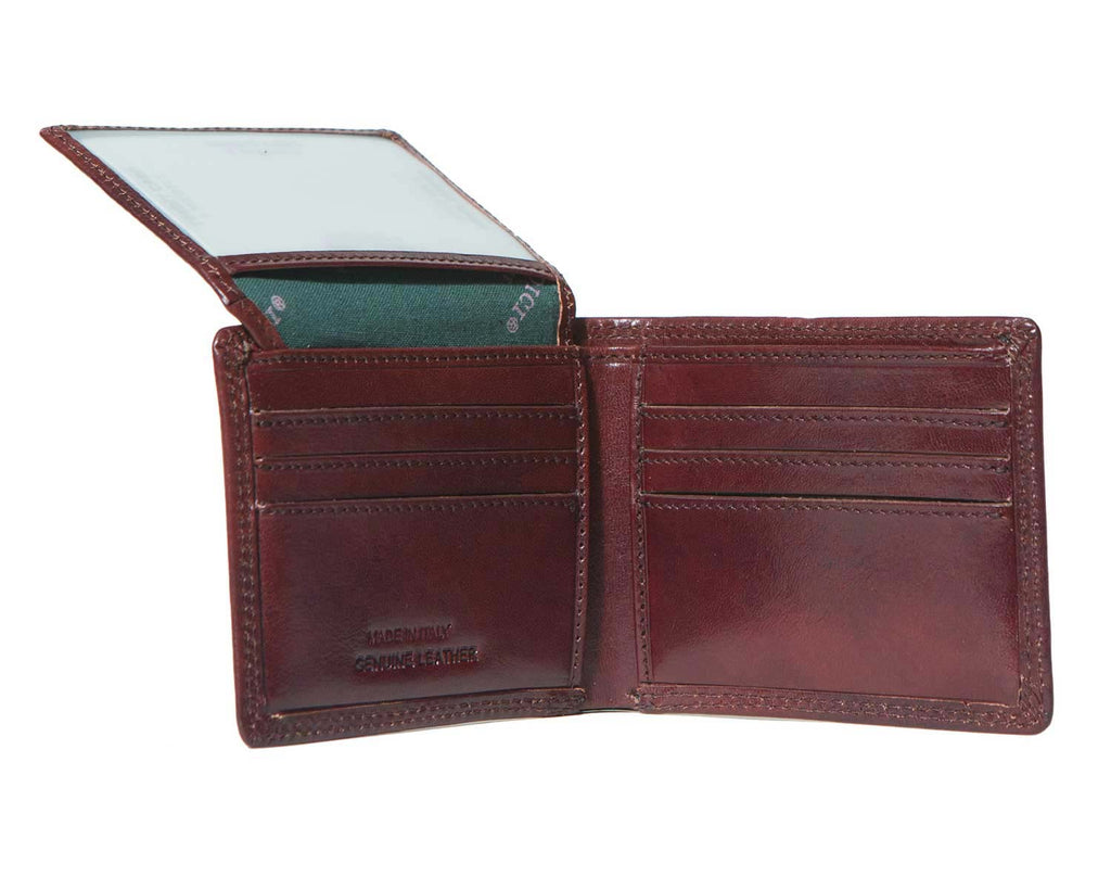 Inside of I Medici Bifold Mens Wallet With Card Pockets and ID Window