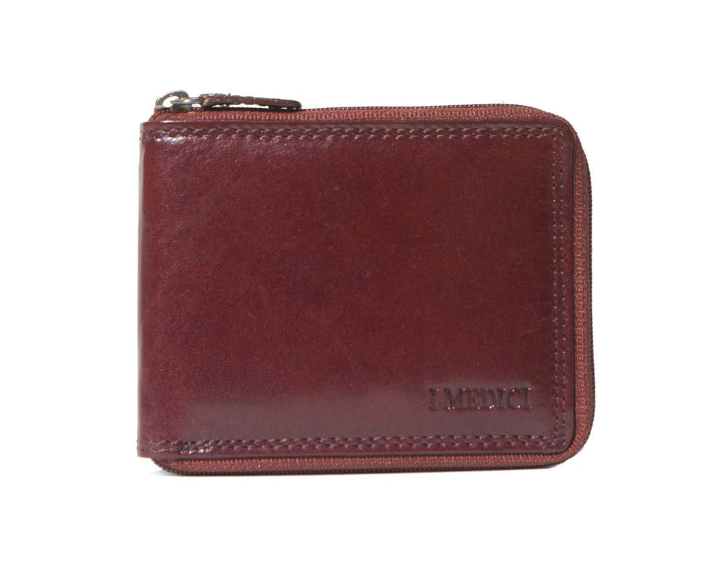 I Medici Bifold Mens Zip Around Wallet in Brown