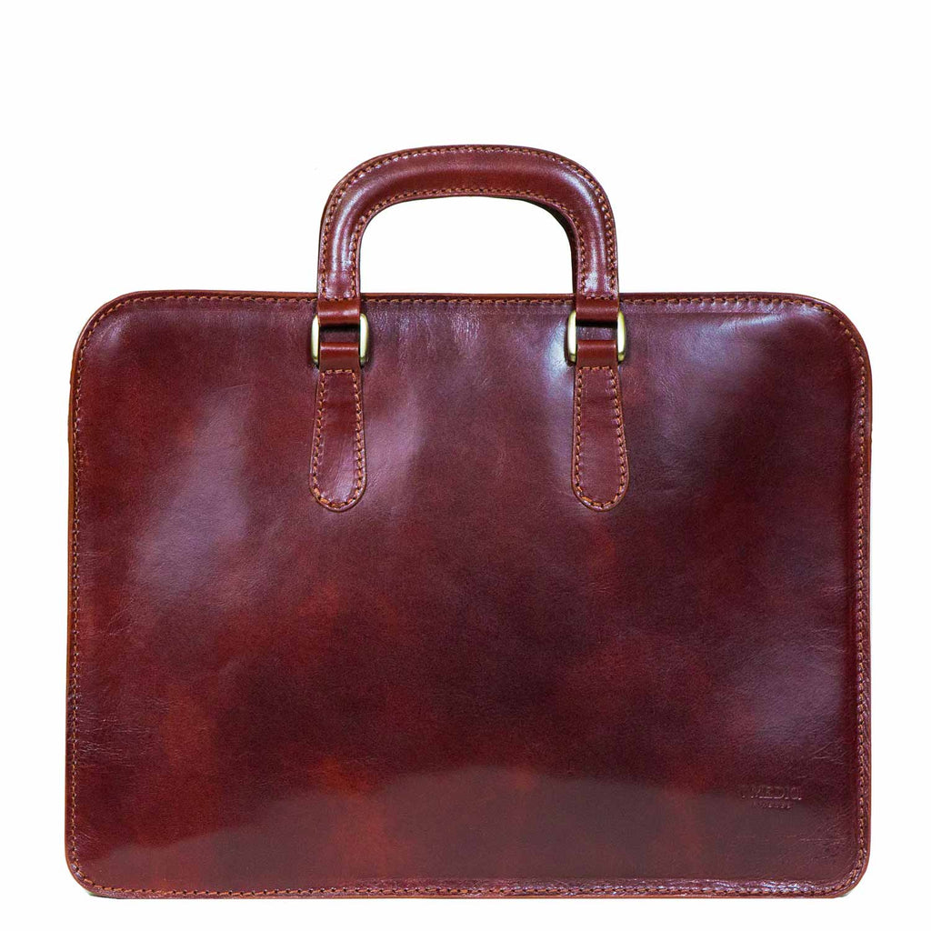 I Medici Palermo Single Gusset Slim Briefcase, Document Case in Brown