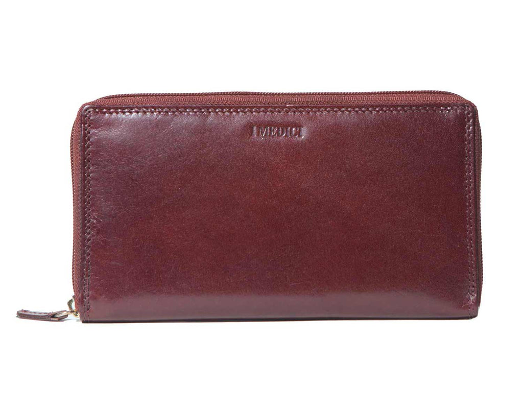 I Medici Norina Zipper Clutch Wallet for Women in Brown