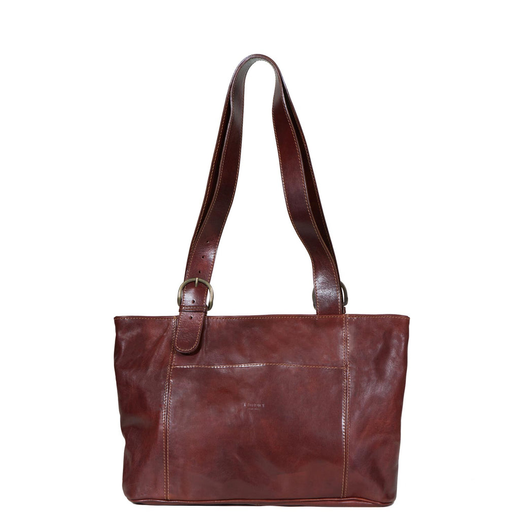I Medici Borsa Shopping Leather Tote Bag in Brown