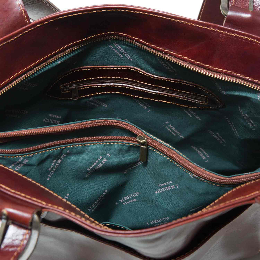 Inside of I Medici Borsa Shopping Leather Tote Bag