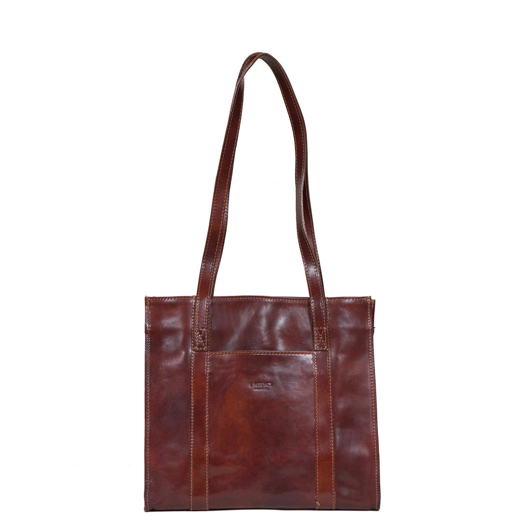 I Medici MEZZO Medium Leather Tote Bag, Handbag in Brown