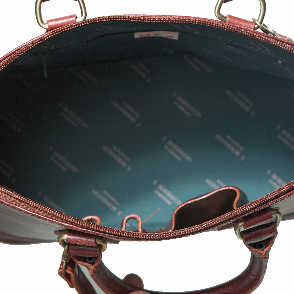 Inside of I Medici The Size and Style Italian Leather Handbag