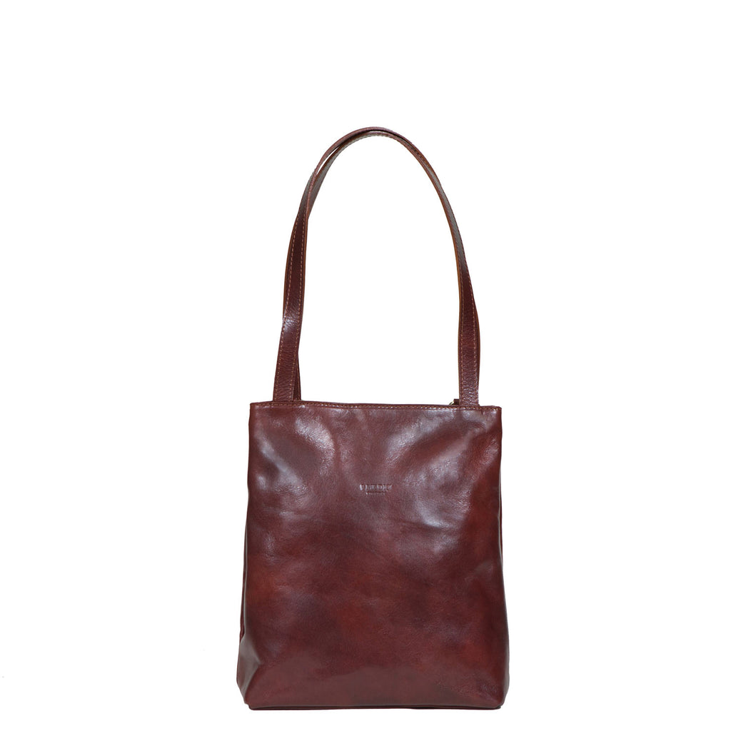 I Medici CARINO Leather Tote Bag, Italian Womens Backpack, Handbag in Brown
