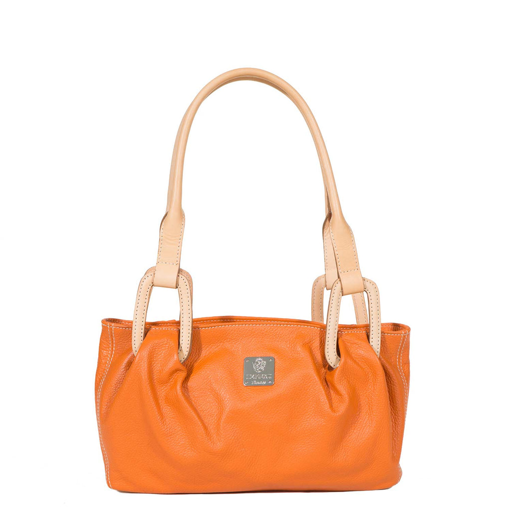 I Medici DONNA Deer Printed Italian Leather Handbag, Tote Bag in Orange
