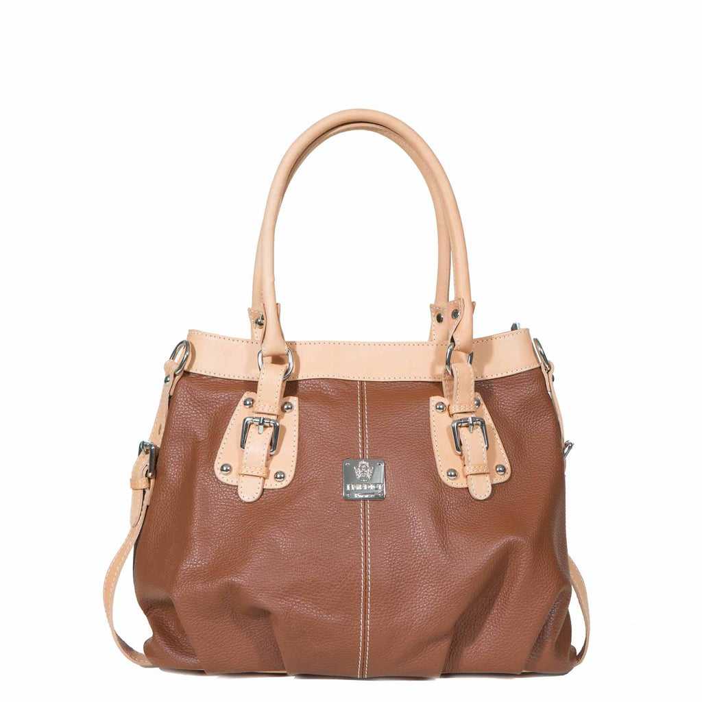 I Medici Jianna Womens Tote, Italian Leather Handbag in Brown