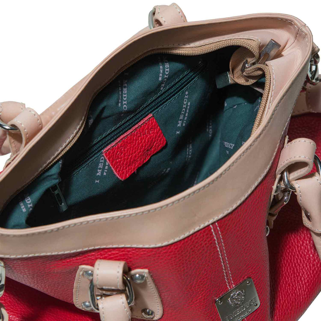 Inside of I Medici Jianna Womens Tote, Italian Leather Handbag