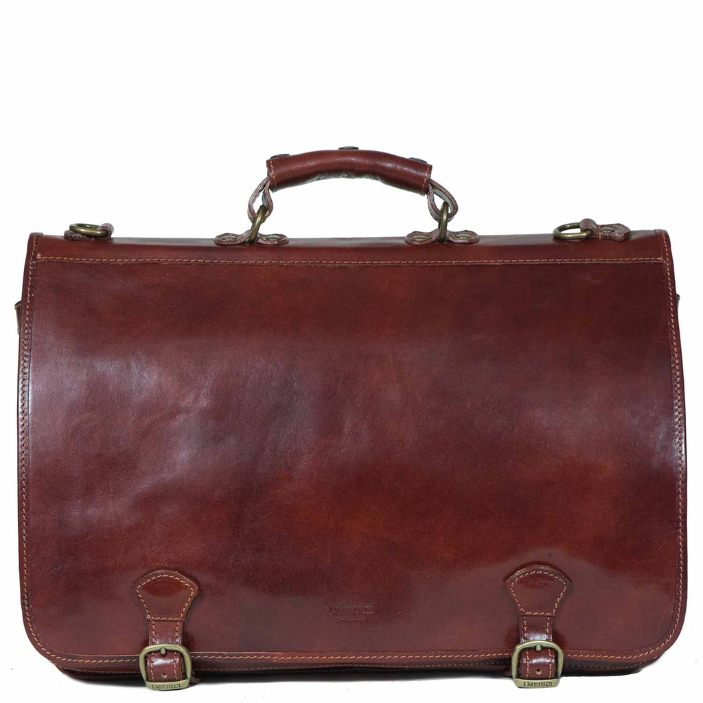 I Medici Cartellone Indy Leather Briefcase Laptop Case in Brown