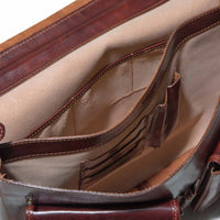 Inside of I Medici Cartellone Indy Leather Briefcase Laptop Case