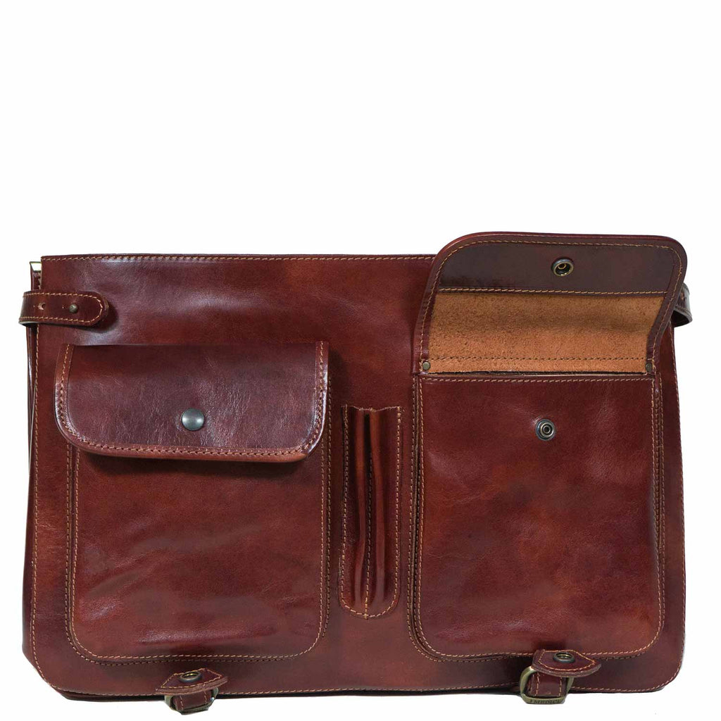 Front of I Medici Cartellone Indy Leather Briefcase Laptop Case, Opened
