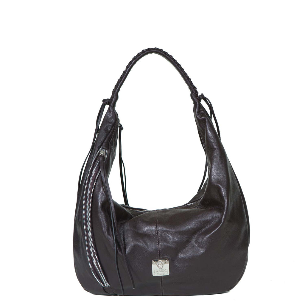 I Medici Blanca Leather Tote, Womens Italian Handbag in Dark Brown