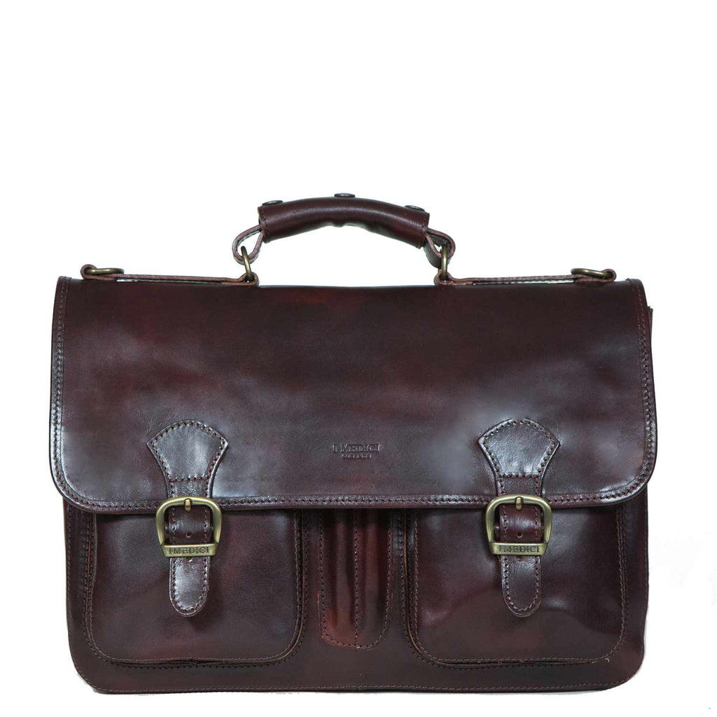 I Medici Cartella Scoula Italian Leather Briefcase in Chocolate