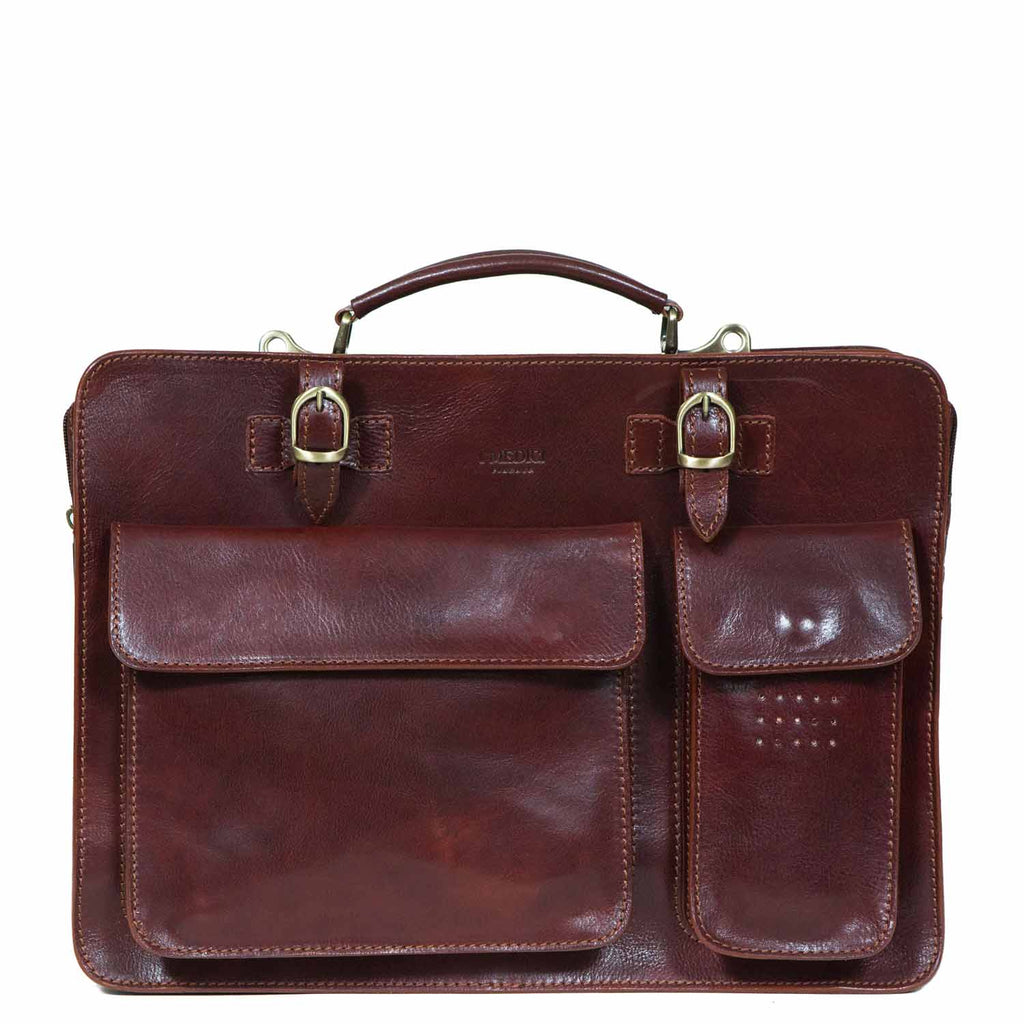 I Medici Florentine Italian Leather Briefcase, Business Bag in Brown