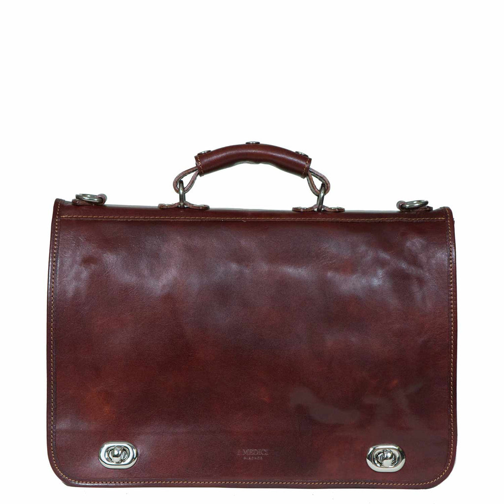 I Medici Cartella Nottolini Italian Leather Small Briefcase in Brown