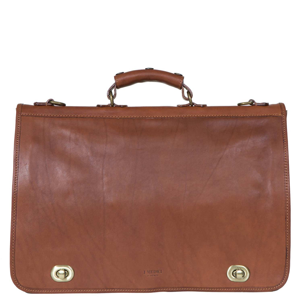 I Medici Cartella Nottolini Italian Leather Large Briefcase in Brown