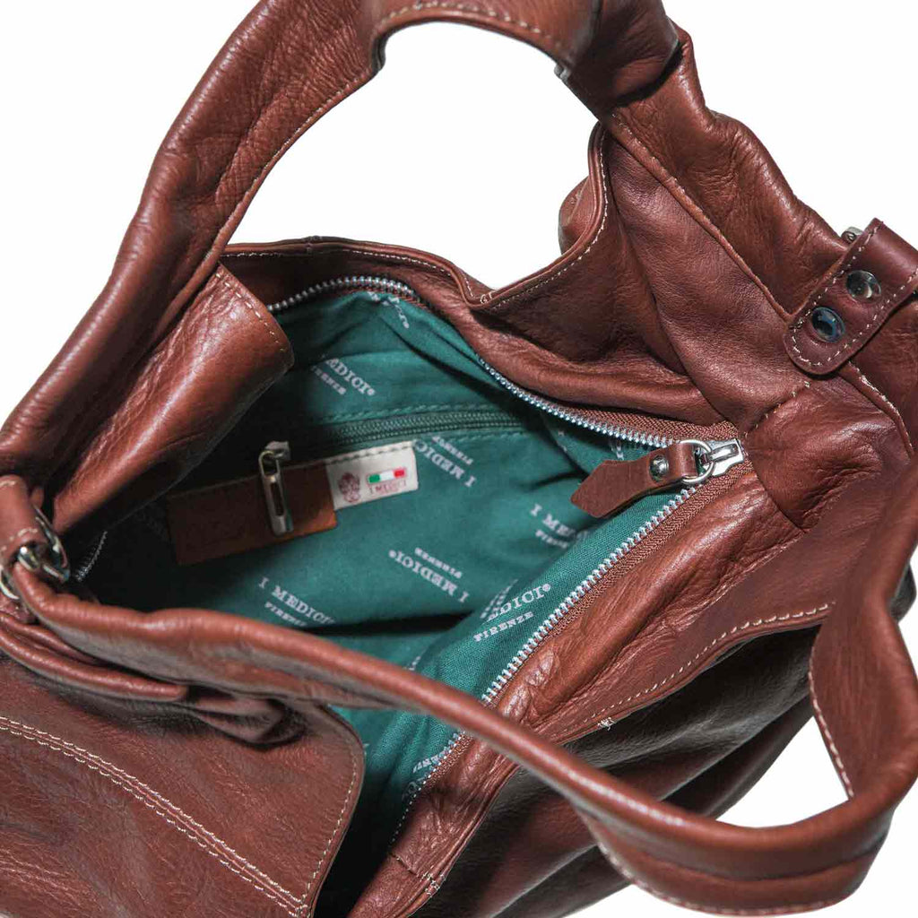 Inside of I Medici TENERO Soft Leather Italian Hobo Bag