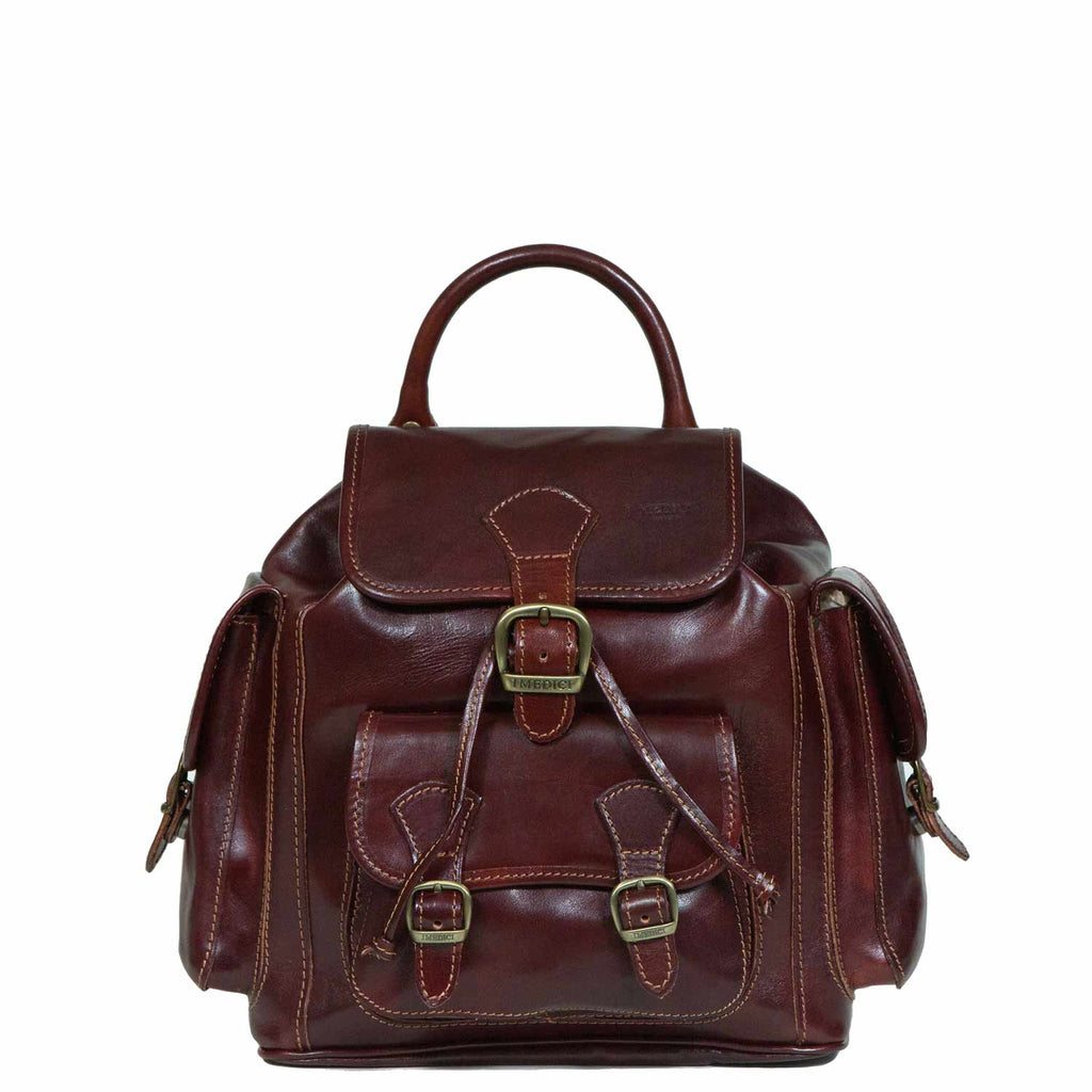 I Medici Rugged Elegance Italian Leather Backpack in Brown
