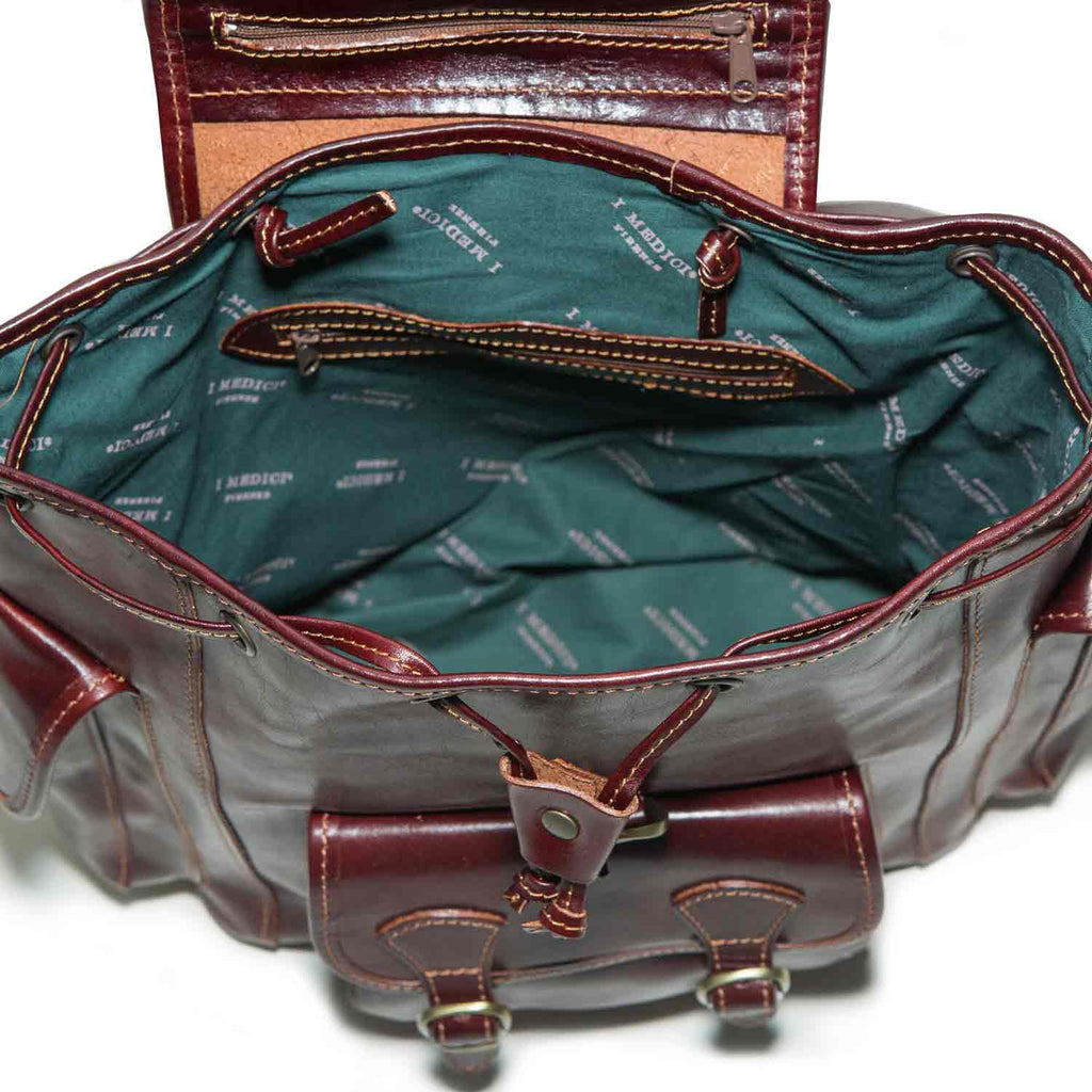 Inside of I Medici Rugged Elegance Italian Leather Backpack