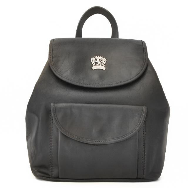 Pratesi Bruce Range Gaville Leather Backpack, Flap Over Pocket in Black