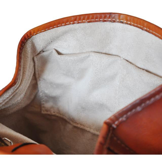 Inside of Pratesi Bruce Range Gaville Leather Backpack, Flap Over Pocket