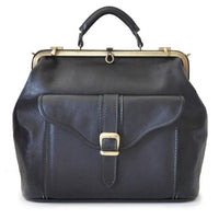 Pratesi Bruce Range Mary Poppins Leather Travel Duffle Bag, Metal Frame in Black