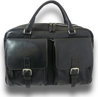 Pratesi Bruce Range Montalcino Top Zip Leather Briefcase for Men in Black